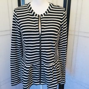 Caslon Black and White Striped Cotton Cardigan Med